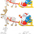 Santa Claus drives in a sleigh with reindeer — Stock Photo #13634117