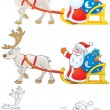 Santa Claus drives in a sleigh with reindeer — Stock Photo