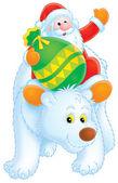 Santa claus auf ein eisbär — Stockfoto