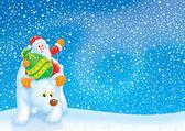 Santa Claus travels on a Polar Bear — Stock Photo