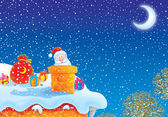 Santa Claus in a chimney pipe — Stockfoto
