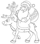 Santa Claus riding on the reindeer — Stock Photo