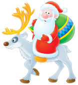Santa Claus riding on his reindeer — Stock Photo