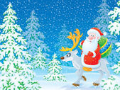 Santa Claus riding on a reindeer — Stock Photo