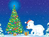 Polar Bear and Christmas tree — Stock Photo