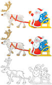 Santa Claus drives in a sleigh with reindeer — Stock fotografie