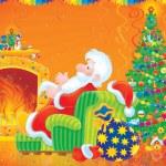 Papá Noel y árbol de Navidad — Foto de Stock