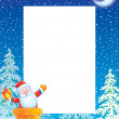 Stock Photo: Christmas border with Santa Claus