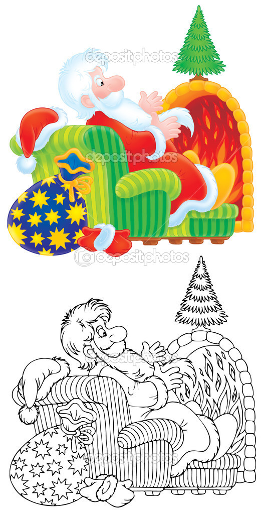 Santa Claus and Christmas tree — Stockfoto #15846469
