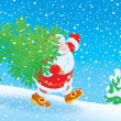 Santa with Christmas tree — Stockfoto