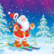 Santa Claus skiing with a toy sack — Stock Photo #16189867
