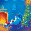 Santa Claus sleeps by the fire - Stock Photo