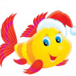 Coral fish wearing the Christmas cap - Stock Photo