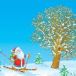 Santa Claus skier - Stock Photo