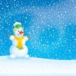 Winter background with a snowman — Foto de Stock