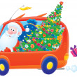 Santa drives in his car with Christmas gifts - Stock Photo