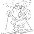 Santa Claus skiing with a toy sack - Stock Photo
