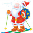Santa Claus skiing with a sack of gifts - Stock Photo