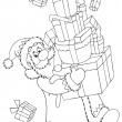 Santa carrying a large stack of gifts - Stock Photo