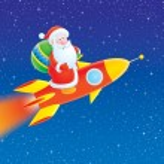 Santa Claus flies on a rocket — Stock Photo #16189907