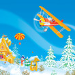 Santa Claus flies in his airplane - Stock Photo