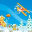 Santa Claus flies in his airplane — Stock Photo