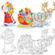 Santa loads Christmas gifts into a sleigh — Stock Photo #16189965