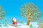 Santa Claus skier — Stock Photo