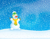 Winter background with a snowman — Stock Photo