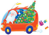 Santa drives in his car with Christmas gifts — 图库照片