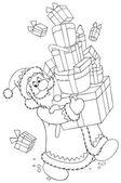 サンタの贈り物の大規模なスタックを運ぶ — ストック写真