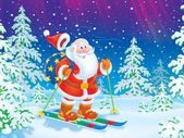 Santa Claus skiing with a toy sack — Foto Stock