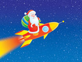 Santa Claus flies on a rocket — Stock Photo