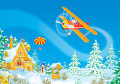 Santa Claus flies in his airplane — Stockfoto