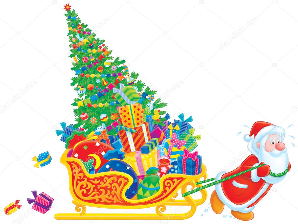 Santa Claus pulls the sledge overfilled with Christmas gifts and Christmas tree — Stock Photo #16189233