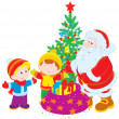 Santa and children - Stock Vector