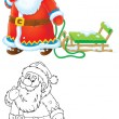 Santa Claus pulling a sleigh — Stock Photo