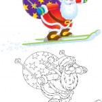 Santa Claus skier — Stock Photo #16190067