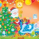 Santa puts gifts under a Christmas tree — Stock Photo