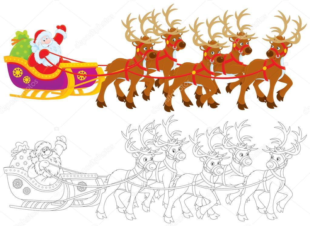 白色背景上的黑白插图由拉扯中驱动器的圣诞老人和圣