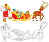 Santa with Christmas presents — Stock Vector