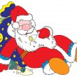 Santa Claus is heavily drunk. He sleeps on the bag with Christmas gifts and an empty bottle of champagne lies near. — Stock Vector