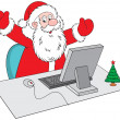 Santa Claus with the computer — Stock Vector