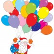 Santa Claus flying with multicolor balloons. Vector clip-art for Christmas and New Year's design. — Stock Vector