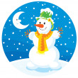 Royalty-Free Stock Vector Image: Snowman and Moon, the night before Christmas