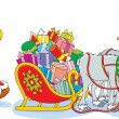 Santa Claus loading with Christmas presents his sleigh with pair of reindeer in one harness — Stock Vector