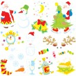 Vector clip-arts of Santa Claus, snowman, moon and stars, Christmas tree, clock, Santas hat and beard, sweets, sock with candies, snowflakes, tall wineglass, wine bottle and fried turkey hen — Stock Vector
