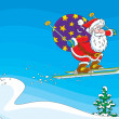 Santa Claus flying after a ski jump with his sackful of Christmas presents — Stock Vector