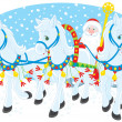 Grandfather Frost or Santa Claus driving in his sleigh pulled by three white horses — Stock Vector