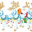 Santa Claus carrying Christmas gifts in his sleigh pulled by three white reindeers — Stock Vector